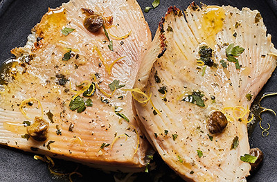 Ray wings with lemon butter, capers and parsley