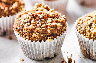 Cherry & white chocolate crumble muffins