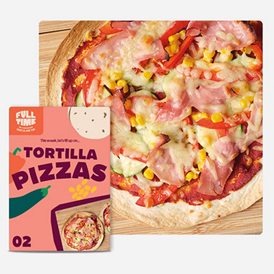 Image of Tortilla Pizzas and recipe card