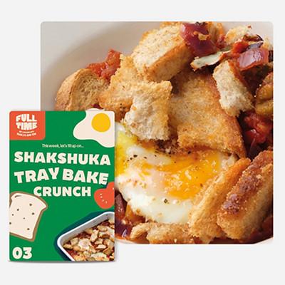 Image of SHAKSHUKA TRAYBAKE CRUNCH and recipe card