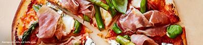 Asparagus, prosciutto and ricotta pizzas