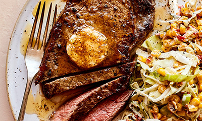 Cajun Sirloin steaks with sweetcorn slaw