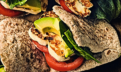 Halloumi and avocado in pitta with tomato chutney