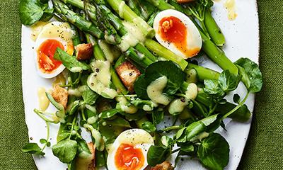 Asparagus, egg and watercress salad