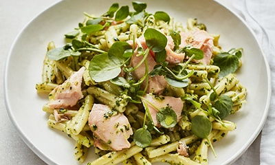 Image of penne pasta and salmon