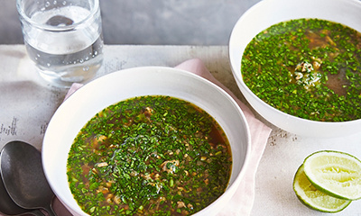 Image of Watercress and pork soup with Vietnamese flavours