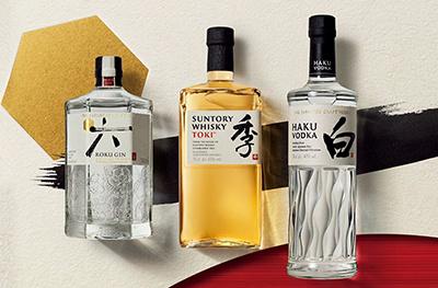 Roku Gin, Toki Whisky and Haku Vodka