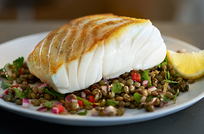 Pan-fried cod with lentils