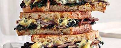 Mushroom, cavolo and blue cheese toasties