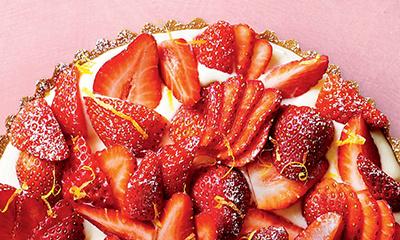 Strawberry, mascarpone and lemon curd tart