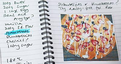 image of recipe note book