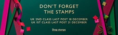 Don't forget the stamps. UK second class last post 18 December. UK first class last post 21 December.