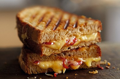 Image of a toasted cheese and chilli sandwich
