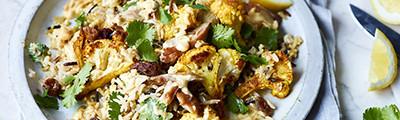 Warm curried mackerel salad