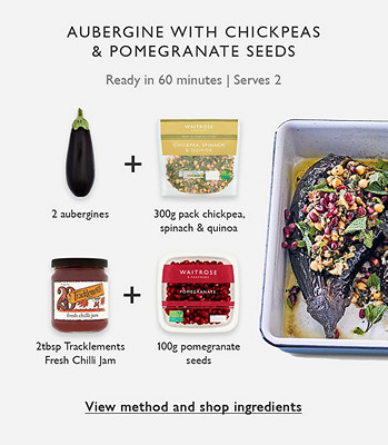 Meal Maths - Aubergine with chickpeas & pomegranate seeds