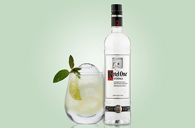 Image of a Moscow mule cocktail and Ketel One vodka