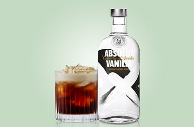 Image of a White Russian cocktail and Absolut vanilla