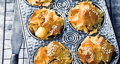 Mushroom & chestnut filo pies