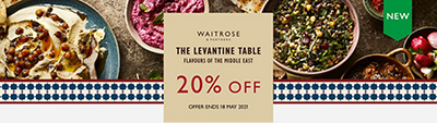 NEW - Waitrose & Partners - The Levantine Table - Flavours of the middle east - 20% OFF