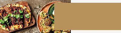 Baharat roast chicken with barberry freekeh & fried almonds, Cauliflower & halloumi fritters with mango amba yogurt, and https://www.waitrose.com/content/waitrose/en/home/recipes/recipe_directory/s/sweet-spicy-lambflatbreads.html