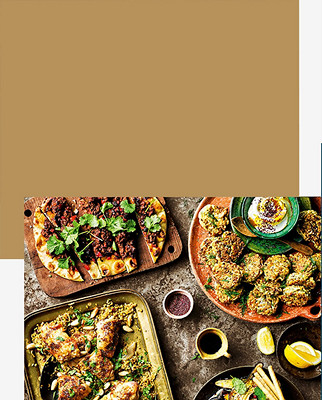 Baharat roast chicken with barberry freekeh & fried almonds, Cauliflower & halloumi fritters with mango amba yogurt, and https://www.waitrose.com/content/waitrose/en/home/recipes/recipe_directory/s/sweet-spicy-lambflatbreads.html