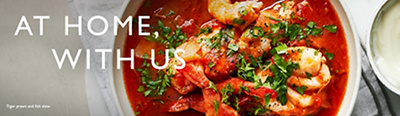 At Home with us image banner, of Tiger prawn & fish stew
