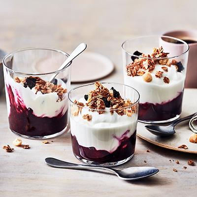 Image of indulgent yoghurt pots with berries