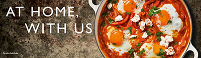 At Home with us image banner, of a Simple shakshuka recipe