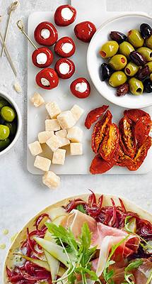 Image of Antipasti and a tortilla pizza