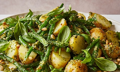 Pesto potato salad with beans
