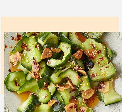 Cucumber quick pickles with garlic chilli oil