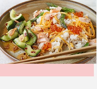 Salmon, Asparagus & Egg Chirashi sushi