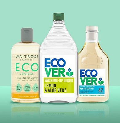 Image of ecover laundry and dish cleaning products