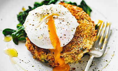 Martha Collison's salmon fishcakes with spinach and poached eggs