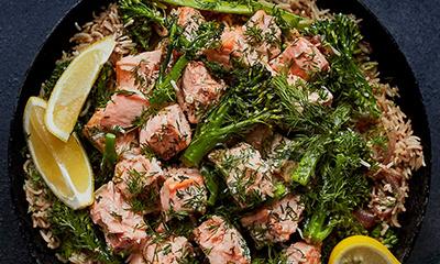 Salmon and broccoli pilaf