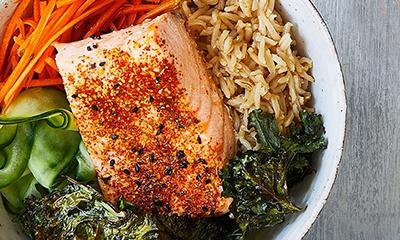 Salmon and sesame rice bowl