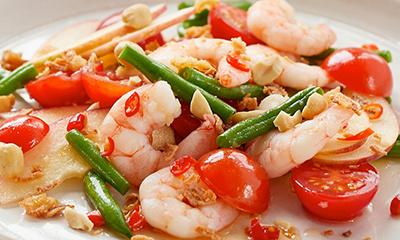 Thai style apple and prawn salad