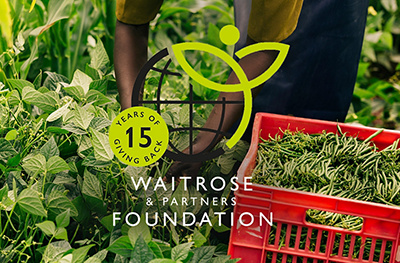 Image of Waitrose Foundation logo and a worker picking peas in a field