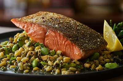 Image of Taste Pan-fried salmon with wheatberries, lentils and green vegetables