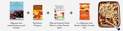 395g can Essential Mixed Beans in a Spicy Tomato Sauce, 430g pack slow cooked barbecue pork shoulder,  75g Polenta Valsugana, ½ x 400g pack Aunt Bessie's Golden Crumble Mix