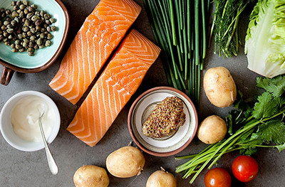 Image of salmon and vegetable portions