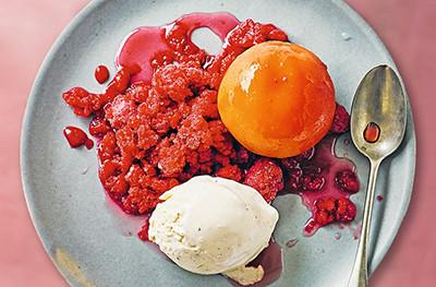 Peaches with berry granita & vanilla ice cream